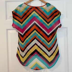 Annabelle Tops - Sheer High-Low Colorful Geometric Blouse
